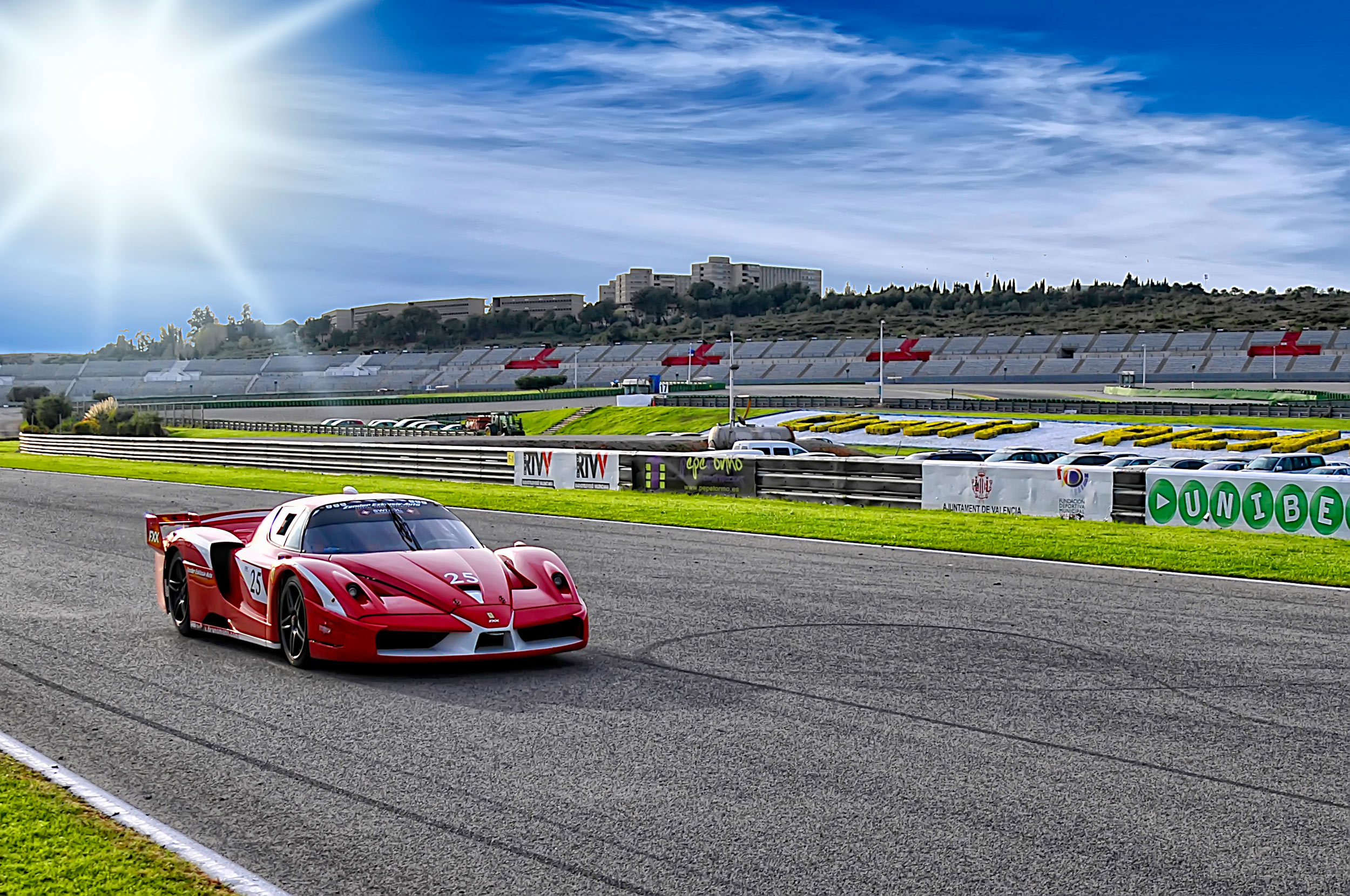 Ferrari on racing track